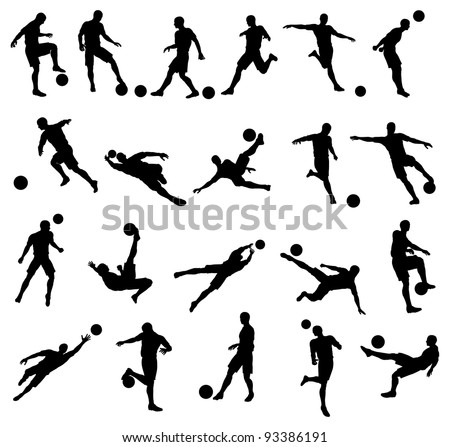 Very high quality detailed soccer football player silhouette cutout outlines.