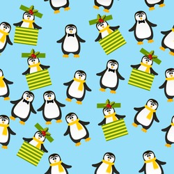 Very high quality original trendy vector seamless pattern with winter holidays happy cute Christmas penguin in scarf