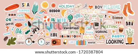 Very large collection of colorful stickers covering diverse subjects with text and picture icons for weekly or daily planners and diaries , colored vector illustration