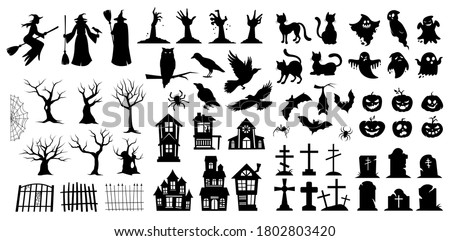 Very large set of black vector Halloween silhouettes with witches, birds, pumpkins, haunted houses, trees, ghosts and graves for use as design elements Foto d'archivio ©