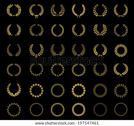 Very large set of thirty-six different vector laurel  wheat  floral and foliate wreaths and circular frames for awards  heraldry  antiquity  victory  champion and excellence on black