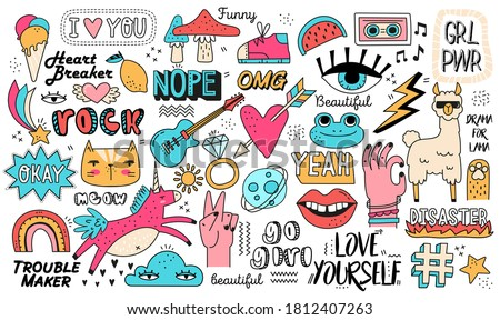 Very large set or composition of doodle icons on assorted topics isolated on white for design elements, colored vector illustration