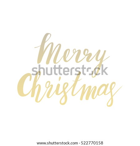 very merry christmas gold beautiful glittering lettering on white isolated backgroud