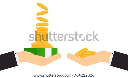 Very money and Less money. business vector. free space for text