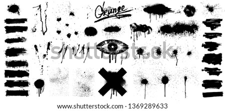 Very nice Collection of black paint, great elaboration, spray graffiti stencil template ink brush strokes, brushes, lines. Paint splats blotches. Round grunge design elements. Isolated vector set