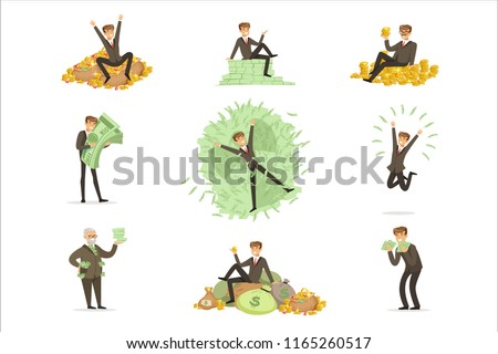 Very Rich Man Bathing In His Money, Happy Millionaire Magnate Male Character Series Of Illustrations