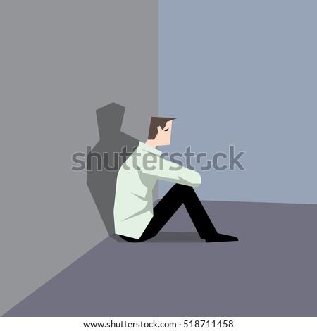 very sad man sitting at the
