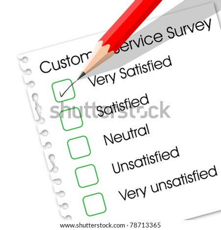 Very satisfied check box in customer service survey form