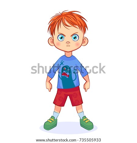 Very serious boy with an evil monster on a T-shirt. Cutout vector illustration for kids.