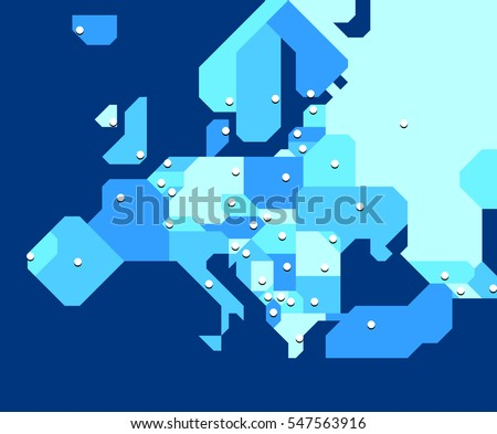 Very simplified map of Europe with states and their capital cities. Each state and each capital on its own appropriately named layer. Can be used at very small sizes. Lightweight.