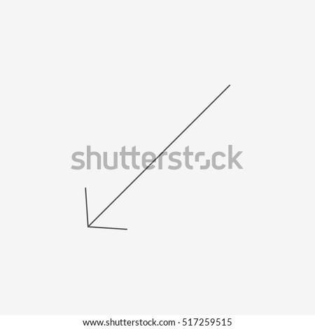 Very thin arrow vector icon on gray background