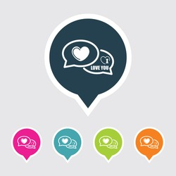 Very Useful Editable I Love You Comments Icon on Different Colored Pointer Shape. Eps-10.