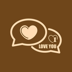 Very Useful Editable Vector icon of I love you comments on coffee color background. eps-10.