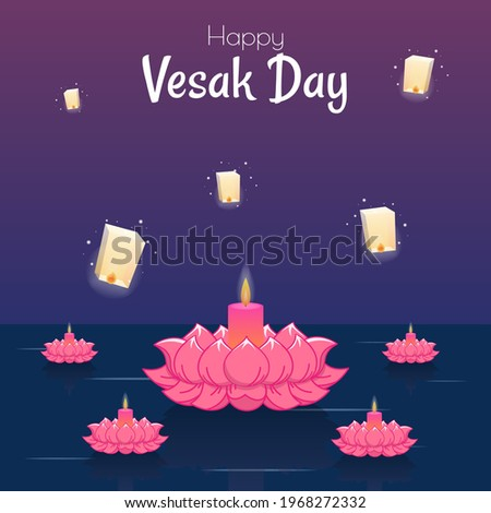 Vesak day banner with Cute Buddha and Lotus petals and lampion on gradient backround vector design. Vesak Day traditional Culture event Illustration vector design