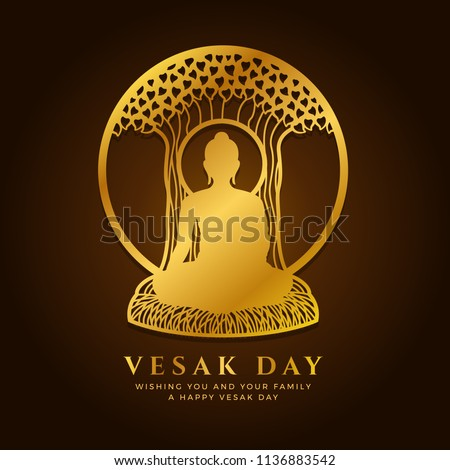 Vesak day banner with  Gold buddha Meditate under Bodhi tree in circle frame sign vector design