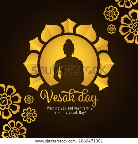 Vesak day banner with Gold Buddha on circle and Lotus petals on dark background vector design - Shutterstock ID 1060471001