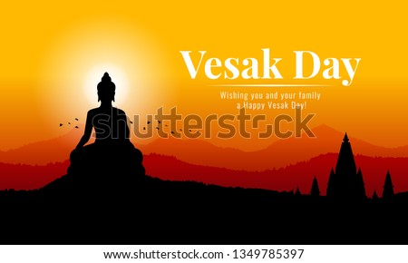 vesak day banner with Silhouette Big Buddha statue on mountain view in evening time vector design