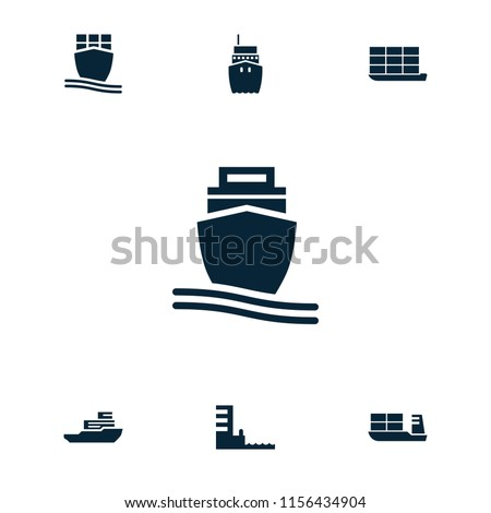 Vessel icon. collection of 7 vessel filled icons such as cargo ship, harbor. editable vessel icons for web and mobile.