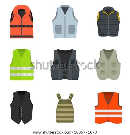 Vest waistcoat jacket suit icons set. Flat illustration of 9 vest waistcoat jacket suit vector icons isolated on white Stock photo ©