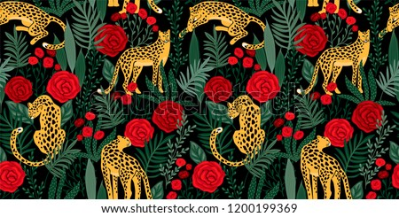 Vestor seamless pattern with leopards, tropical leaves and roses. Trendy style.