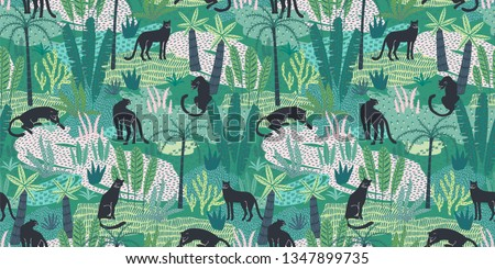 Vestor seamless pattern with panthers and tropical leaves. Trendy style.