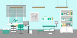 Vet clinic interior flat vector illustration. Vet doctor's consultation room.