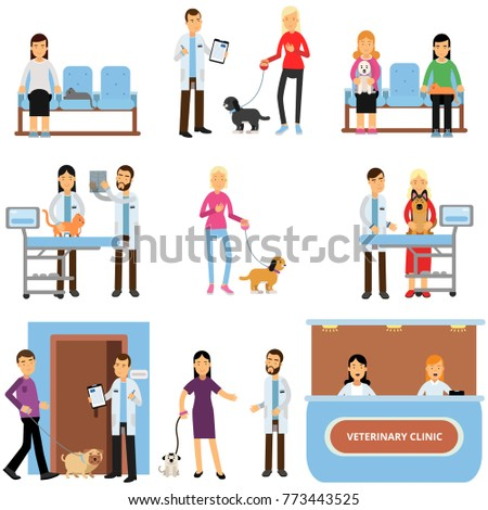 Vet clinic set, veterinary doctors examining dogs and cats, people visiting vet clinic with their pets cartoon vector Illustration