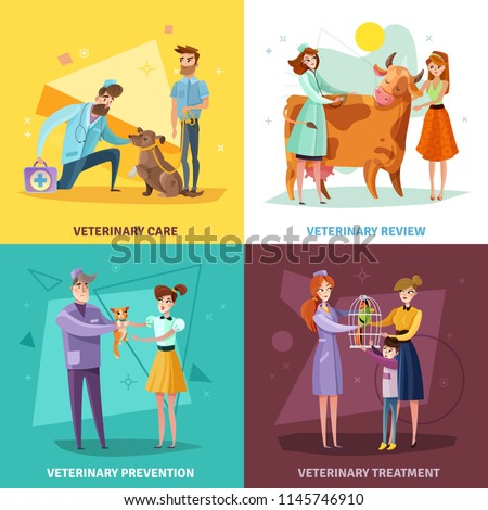 Vet doctors design concept with pets and farm animals veterinary treatment and prevention isolated vector illustration