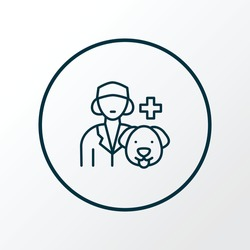 Vet icon line symbol. Premium quality isolated veterinarian woman element in trendy style.