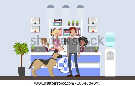 Vetclinic illustration with patients and owners on white.