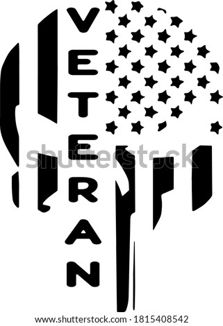 Veteran Punisher American Flag Vector