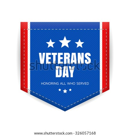 Veterans day banner or badge. Vector illustration.