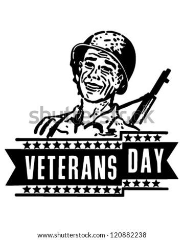 Veterans Day Banner - Retro Clipart Illustration - stock vector