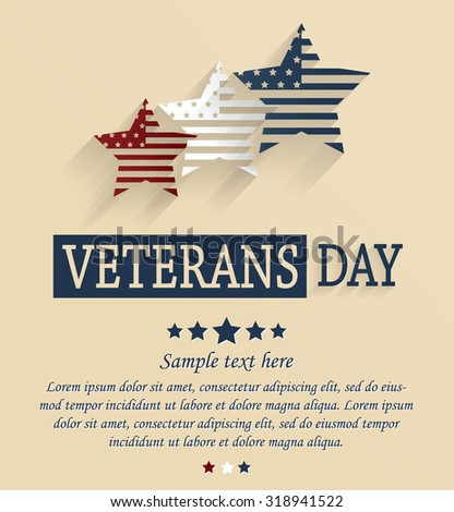 Veterans Day card. Red, white and blue stars. Vector illustration.
