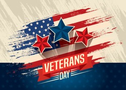 veterans day celebration with flag and stars vector illustration design