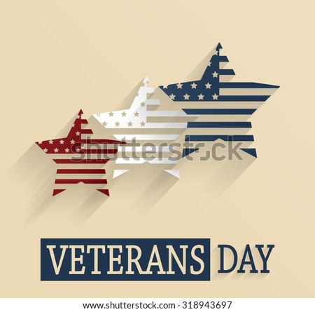 Veterans Day poster. Red, white and blue stars. Vector illustration.