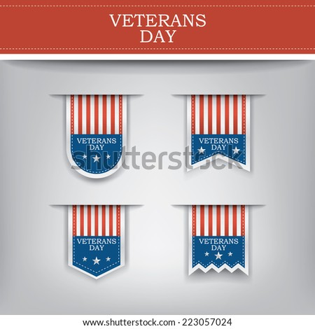 Veterans day ribbon elements for websites. Eps10 vector illustration