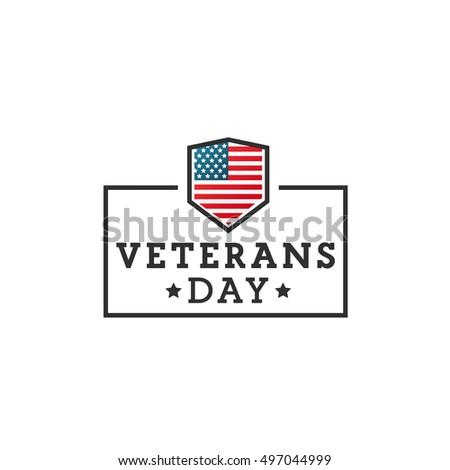 Veterans day. Vector label, emblem, banner.