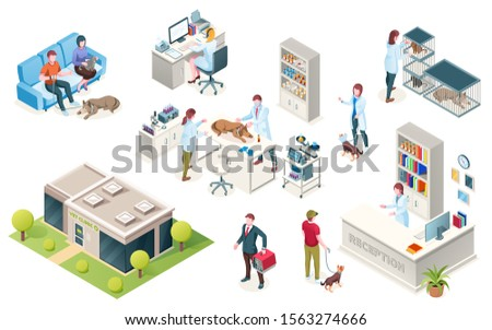 Veterinarian clinic, vector isometric icons of animal pets and doctors. People waiting doctor with dog in carriage at veterinary clinic reception, medical checkup table and surgery examination room
