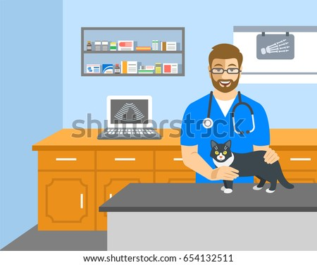 Veterinarian doctor holds cat on examination table in vet clinic. Vector cartoon illustration. Pets health care background. Domestic animals treatment concept. Veterinary professional consultation