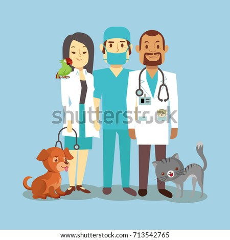 Veterinarian staff with cute pets isolated on blue. Veterinary doctor with animals dog and cat. Vector illustration