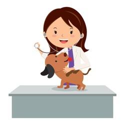 Veterinarian. Vector illustration of a veterinarian examining a puppy.