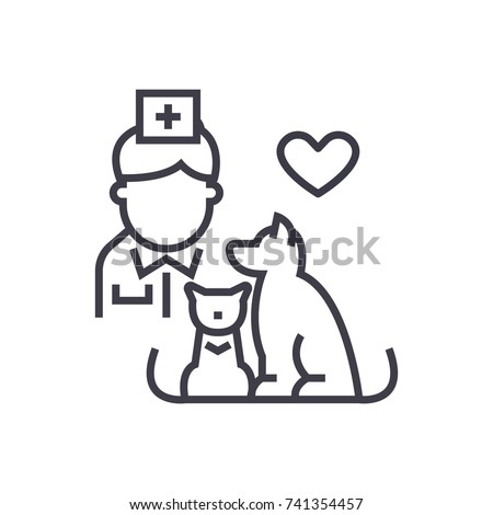 veterinarian with dog and cat linear icon, sign, symbol, vector on isolated background