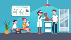 Veterinarian woman examining terrier dog in veterinary clinic. Clients sitting on bench with pets. Canine vet service doctor. Dogs health care medical checkup. Office interior flat vector illustration