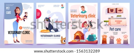 Veterinary clinic banners set. Vet service, cats and dogs care, spa procedures for pets in therapeutic office, animals health care, hospital advertising poster design. Cartoon vector illustration Foto stock ©