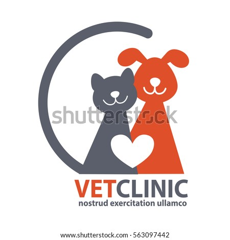 Veterinary Clinic logo with the image of cat and dog. Vector Illustration.