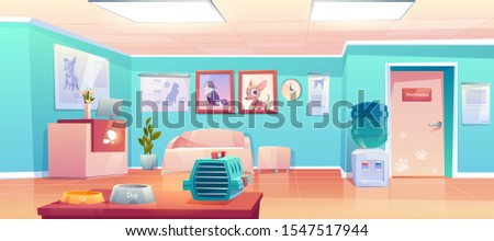 Veterinary clinic reception, empty hall interior with desk, veterinarian doctor cabinet door. Animals hospital lobby with cat and dog banners, pet carrier, food bowls. Cartoon vector illustration