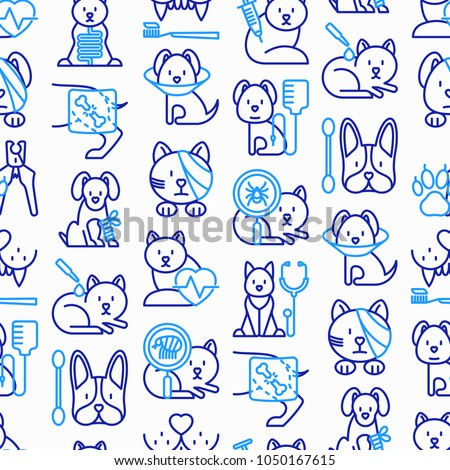 Veterinary clinic seamless pattern with thin line icons: broken leg, protective collar, injection, cardiology, cleaning of ears, shearing claws, bandage on eye, blood transfusion. Vector illustration.
