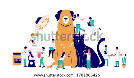 Veterinary clinic services, vector flat illustration. Huge dog and cat, tiny characters vets with syringe, microscope, magnifying glass. Veterinarian pet checkup, animal treatment, medical pet care.