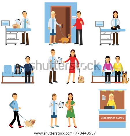 Veterinary clinic set, people visiting vet clinic with their pets, veterinary doctors examining dogs and cats cartoon vector Illustrations